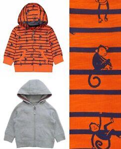 MOTHERCARE Boys Hoodie Orange Grey Monkey Zipped Cardigan Hooded Baby Top BNWT
