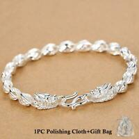 Mens 925 Sterling Silver Chain Link Dragon Bracelet Bangle Cool Good Luck Charms