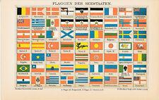 Flaggen flags Fernsignale 1894 orig. Ganztafeln + Lex.-Artikel Deutsches Reich