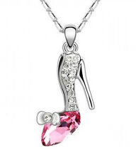 Pink Crystal Silver Tone Chain Pendant Necklace Women Fashion Charm Shoe Jewelry