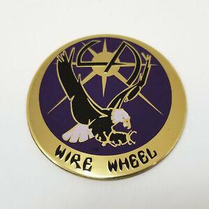 "LA Wire Wheel Eagle Bird Gold/Blue 2-1/2"" OD Wheel Center Hub Cap Logo/Sticker"