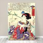 "Beautiful Japanese GEISHA Art ~ CANVAS PRINT 8x12"" Kuniyoshi Origami"