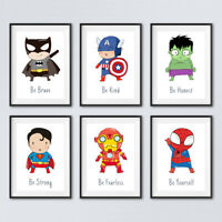 Superhero Quote Prints Childrens Boys Bedroom Wall Art Nursery Decor Pictures