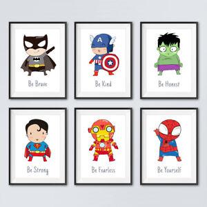 Superhero Quote Prints Childrens Boys Bedroom Wall Art Nursery Decor Pictures