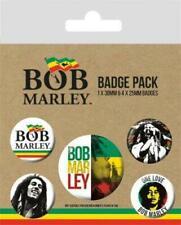 More details for official licensed - bob marley - 5 badge pack rasta reggae jamaica