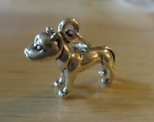 Sterling Silver 3D 17x14mm Solid Pit Bull American Terrier Dog Charm