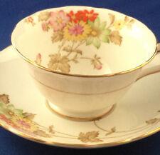 GROSVENOR JACKSON GOSLING TEA CUP & SAUCER A143 A145 ENGLAND MULTICOLORED FLOWER