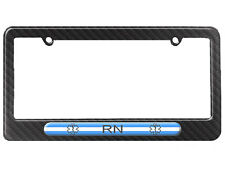 Thin White Line - Nurse RN Star of Life License Plate Frame Carbon Fiber Pattern