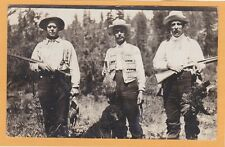 Real Photo Postcard RPPC - Hunter Game Birds Dog Ammunition Rife - Hunting