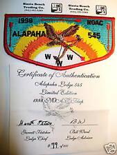 OA Alapaha Lodge 545,S-31,1998 NOAC,Red Bd Flap,100 Made,Cert,353,98,Valdosta,GA