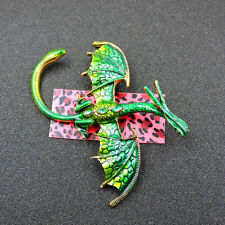 Pterosaur Dragon Charm Brooch Pin New Betsey Johnson Green Enamel Crystal
