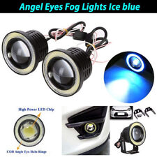 "2.5"" inch LED Fog Light Projector Driving Lamp COB Angel Eye Halo Ring Ice Blue"