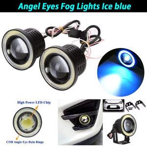 "2.5"" inch LED Fog Light Projector Driving Lamp COB Angel Eye Halo Ring Ice Blue"