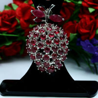 NATURAL RED RUBY CHERRY TWO DESING BROOCH / PENDANT 925 STERLING SILVER