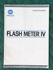 MINOLTA FLASH METER IV Instruction Manual