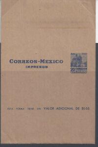 MEXICO: 1953 20c wrapper (HG E52), full 100:300mm including gummed flap.