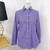 RM Williams Womens Olivia Shirt Purple Check Long Sleeve Button Down Size 12 NWT