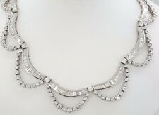 27.5 ct 18K White Gold Round & Baguette Cut Diamond Rare Necklace Rtl $39,500