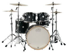 DW Drum Workshop Design Series Black Satin 5 Piece Drum Set 10,12,16,22,5.5