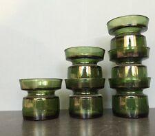 6 VTG JENS QUISTGAARD Dansk Mid Century Candlesticks DANISH MOD MCM Green Glass