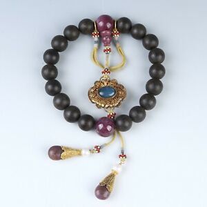Antique Chinese Collection Agarwood Eighteen Beads Bracelets