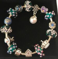 ❤️Authentic PANDORA BRACELET with Green Purple European Charms Beads & Box❤️