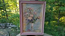 Vintage Flower Vase Reproduction Pink PeonyFrame Picture of Painting Blue Green