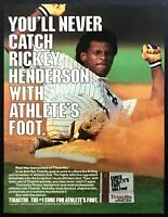 1985 NY Yankees Rickey Henderson Sliding photo Tinactin Cream vintage print ad