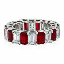 Ruby Emerald And White Cubic Zirconia Eternity Band Ring IN 14k White Gold Over