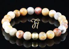 Marbre Agate 925 Argent Fin Plaqué or Bracelet Bracelet Bracelet de Perles 8mm