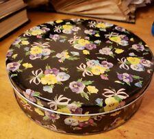 Adorable Vintage Round Black Collectible Tin Container, Floral, Violets, Violas