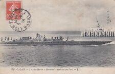 """Carte postale ancienne CALAIS 170 LL sous-marin marine """"germinal"""" timbrée 1918"""