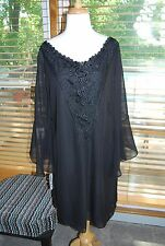 NWT TRIXXI WOMENS PLUS SIZE 1X BLACK DRESS BATWING SLEEVES