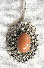 Judaica Yemenite Old coral, filigree sterling 935 pendant, silver chain 1950's