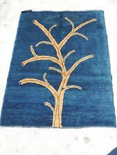 3x5ft. Blue Afghan Chobi Tree Wool Rug
