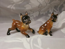 TWO MINIATURE PORCELAIN BOXER PUPPY DOGS BROWN & BLACK