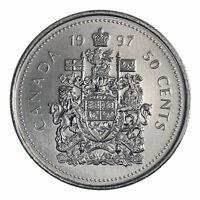 """1997 BU Canada 50 Cents Coin (100% Nickel) - Queen Elizabeth II    """"LOW MINTAGE"""""""