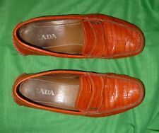 $695 Prada Orange Crocodile Leather Logo Driving Penny Loafers 9.5 10.5