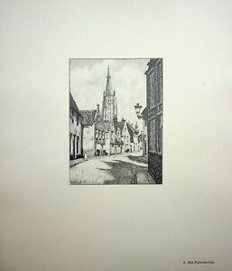 🌓 GEORGES SALLE Bruges Rue Puits-aux-Oies belle gravure sur vélin d'Arches #3