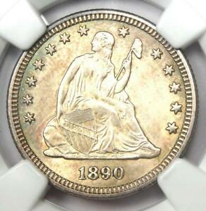 1890 Seated Liberty Quarter 25C - NGC Uncirculated Details (UNC MS) - Rare Date!