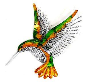 Hummingbird Metal Hanging Wall Art Bird Vibrant Colours Home Garden Décor 39 cm