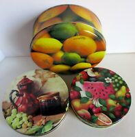 3 Canister Biscuit Candy Metal Tin Fruit Sunkist Lemon Grapes Lime Vintage 8""