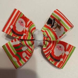 """Snowman, Santa 🎅🏼, Stocking Stripes Christmas 2"""" Hairbow"""