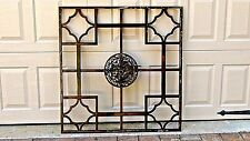 ANTIQUE 19c CHINESE WOOD CARVED PIERCED SQUARE PANEL W/CRAIN AND FLOWERS CENTER