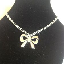 Bow ankle bracelet silver plated