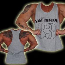 Explosive Fibres Grey MAKE HISTORY 83 Bodybuilding/Gym Racer Back Vest: X-Large