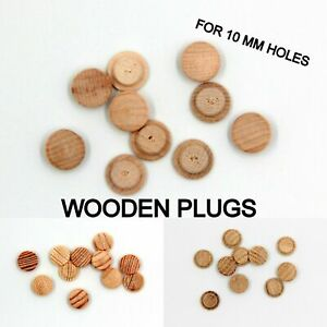 10 x 10 mm Hole Solid Wooden FLAT Head Plug Wood Hole Button Caps Cover Press