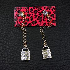 Betsey Johnson Silver Crystal Cute Lock Ear Stud Women's Earrings