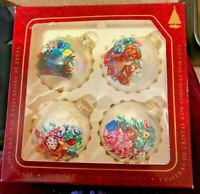 VTG Christmas by KREBS 4 Glass w/Crowns Ball Ornaments in Orig Box Diff DESIGNS