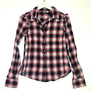 Roxy plaid ruffled long sleeve button up shirt top navy blue pink size small s